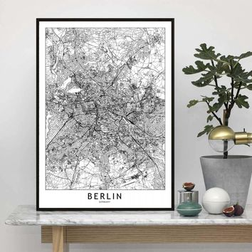 Berlin London Los Angeles New York Paris Tokyo Map Wall Art Paint Decor Canvas Prints Canvas Art Poster Oil Paintings No Frame