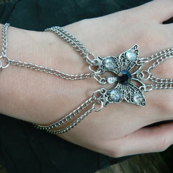 butterfly slave bracelet gemstone gypsy boho hippie gothic and fantasy style