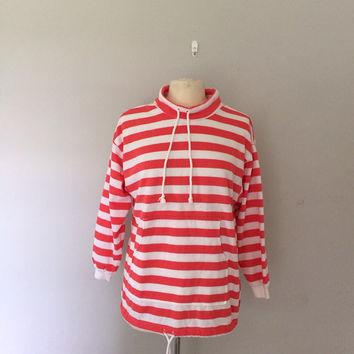 striped sweatshirt / kangaroo pocket sweatshirt / oversized sweatshirt