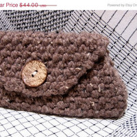 Summers End 20% Off Sale Purple Coconut Large Crochet Chunky Wool Clutch