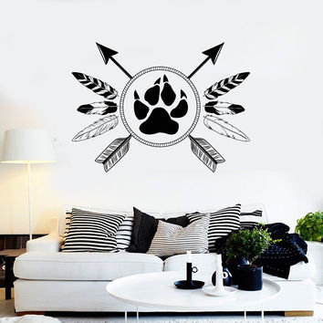 Vinyl Wall Decal Ethnic Style Amulet Tribal Art Arrows Feathers Stickers Unique Gift (ig4944)