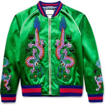 Gucci - Appliquéd Silk-Satin Bomber Jacket