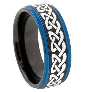 8mm Celtic Knot Love Blue Step Edges Tungsten Carbide Mens Wedding Ring