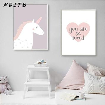NDITB Nursery Canvas Wall Art Poster Cartoon Unicorn Heart Print Painting Decorative Picture Baby Girls Room Decoration