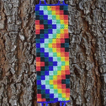 HUICHOL INSPIRED BRACELET Rainbow Geometric Beaded Peyote Cuff Colorful Bracelet Mexican Beadwork Ayahuasca Bracelet Hippie Jewelry Boho