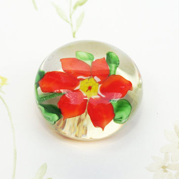 Paperweight, Small Glass Paperweight, Art Glass,Orange Flower, Paper Weight, Desk Accessory, Floral, Domed, Office Accessory - 1970's