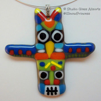 Fused Glass - Totem Pole - Fused Glass Pendant - Native Pendant - Tribal - Jewelry - Fused Glass Jewelry - Glass Jewelry - Bird