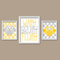OWL Bathroom Wall Art CANVAS or Prints Yellow Gray Brother Sister Bathroom Boy Girl Bathroom WASH Brush Flush Set of 3 Kid Bathroom Decor