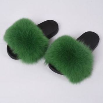 Women Slides Fluffy Fox Fur Slipper Special New Colors Fashion Flat Slipper6026