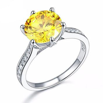 Grande Canary 3CT Simulated Yellow Sapphire Triple Pavé Trellis Solitaire Ring