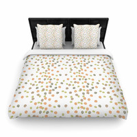"Yenty Jap ""Autumn Spots"" Orange Green Woven Duvet Cover"