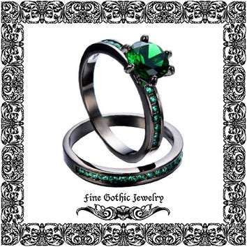 Gothic Engagement Ring Set | Steampunk Wedding Ring Set | Round 1Ct Green Crystal Black Gold Filled Ring Set Size 6 7 8 9 10 #224
