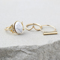 Study the Stars Gold and White Ring Set