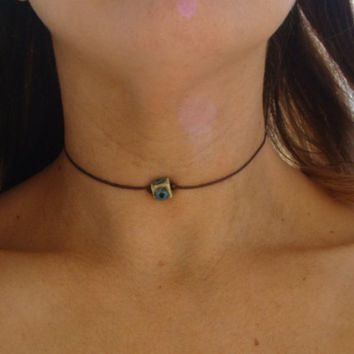 Boho Rustic Clay Bead Leather Choker Necklace - Bohemian Square Hippie Chic Porcelain Red Pearl Brown Turquoise Teal Tan