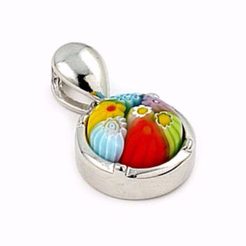 "Sterling Silver Multicolor Glass Murano Millefiori Glass Pendant Round  (Free 18"" Chain)"