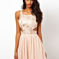 Elise Ryan Sequin Floral Cut Out Skater Dress