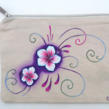 Hand Painted Wristlet White Hibiscus Bag Floral Pencil Case Tropical Gift Ideas Spring Wristlet New Wearable Art Purple Hibiscus Bag
