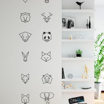 Bear, Bull, Fox, Tiger, Deer, Wolf, Dog, Panda, Lion, Rabbit, Cat and Elephant Geometric Animal Pattern Wall Decal #6091
