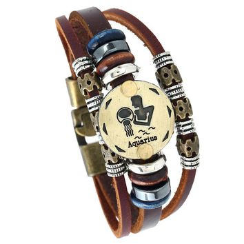 Aquarius Zodiac Leather Charm Bracelets