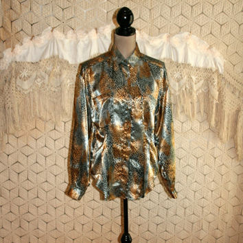 Vintage Satin Animal Print Blouse Satin Shirt Dressy Top Edgy Long Sleeve Button Up Tailored Black Gold Club Top Size Large Womens Clothing