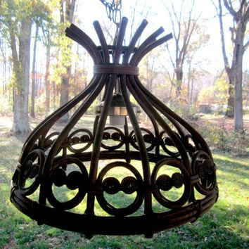 Wood Swag Lamp Vintage Hanging Chandelier Union Made DIY Rare