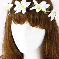 Blooming Flower Leaf Detailed Head Band