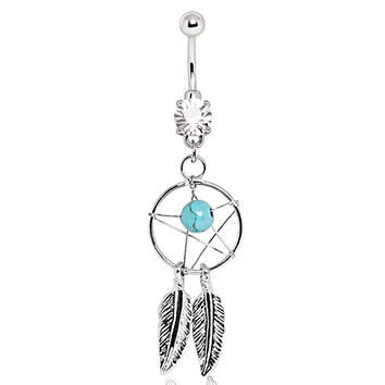 316L Surgical Steel Dream Catcher Navel Ring