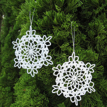 6 Blue Crochet Snowflake Ornaments Christmas Tree Home Decor Baby Mobile Parts Wall Hanging Modern Wall Art
