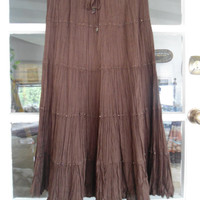 Dark Brown Layered Flaired Hippie Boho Maxi Skirt with Beads
