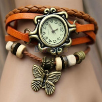 Womens Retro Leather Bracelet Butterfly Decoration Quartz Wrist Watch = 1932729028