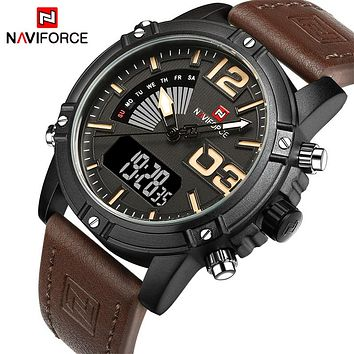 NAVIFORCE NF9095BBY Men's Sport Quartz Analog Leather Military Waterproof Watch