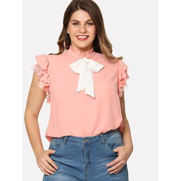 Plus Bow Embellished Layered Ruffle Top Pink