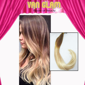 "Guy Tang Inspired Ombre, 22"", Double Drawn, Clip In, Hair Extension"
