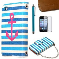 ULAK PU Leather Wristlet Wallet Card Holder Type Magnet Design Flip Stand Case Cover for Apple iPod Touch 4th Generation with Stylus and Screen Protector (Blue Strip & Red Anchor)
