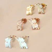 Dainty & Chic Elephant Stud Post Earrings in Choice of 18k Gold Plating, Silver Plating or Rose Gold Plating
