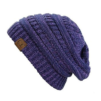 Unisex Soft Stretch Knit Slouchy Beanie (Two Toned- Purple/Navy)