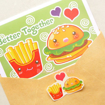 Burger & Fries Note Card. Cute Food Stationery. Valentine's Day Card. Friendship Card. I Love You Card. Anniversary Card. Hamburger Card.