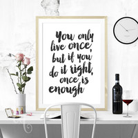 Wall art decor Mae West quote, minimalistic typography  giclée print