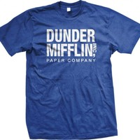 The Office TV Show Dunder Mifflin Paper Men's Royal Blue T-shirt L