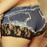 Black Lace Patchwork Low Waist Women's Shorts