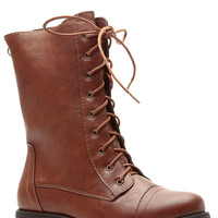 Chesnut Faux Leather Lace Up Cut Combat Boots