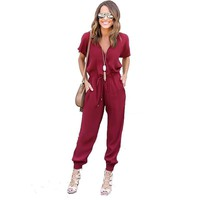 V Neck Pleated Waist Pocket Rompers For Women