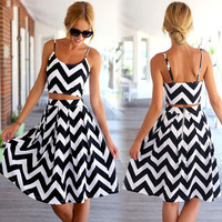 Spaghetti Strap Striped  Dresses  Plus Size  Ladies Fashion Casual Backless