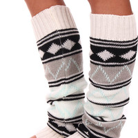 Cream Aztec Print Leg Warmers