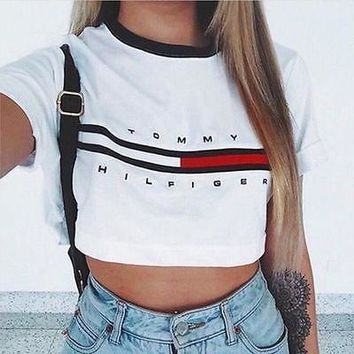 Tommy hilifiger inspired reworked retro crop tshirt top
