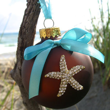 Christmas Starfish Ornament-HOLIDAY SPARKLE-Christmas Ornament, Coastal Christmas, Gifts under 15, Hostess Gift, Starfish, Tiffany Blue