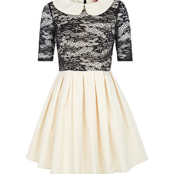Chi Chi Black and Cream Lace Peter Pan Collar Dress
