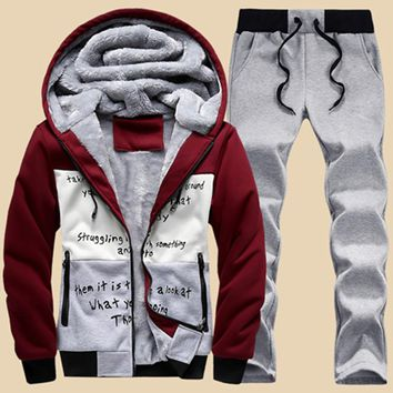sweat suits warm mens tracksuit set casual