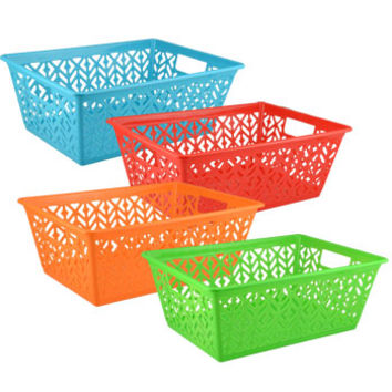 "Bulk Colorful Slotted Plastic Storage Baskets, 14x10"" at DollarTree.com"