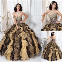 New A Line Quinceanera Dresses Leopard Prom Pageant Dress Graduation Ball Gowns